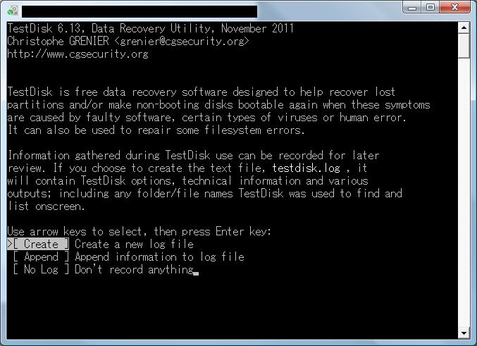 TestDisk画面